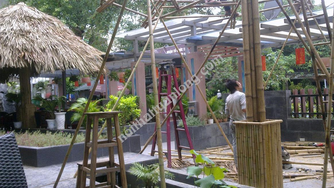 Thi công Ô mái lá quán Cà phê đường Bưởi - Hà nội