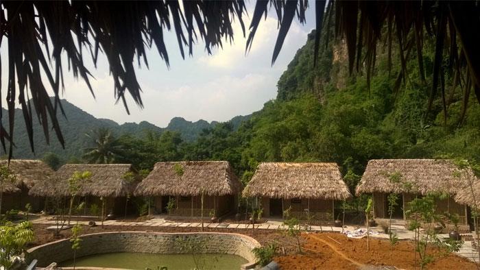 Thi công Nhà mái lá , nhà lá cọ , nhà tre trúc khu du lịch sinh thái tại Tam cốc -