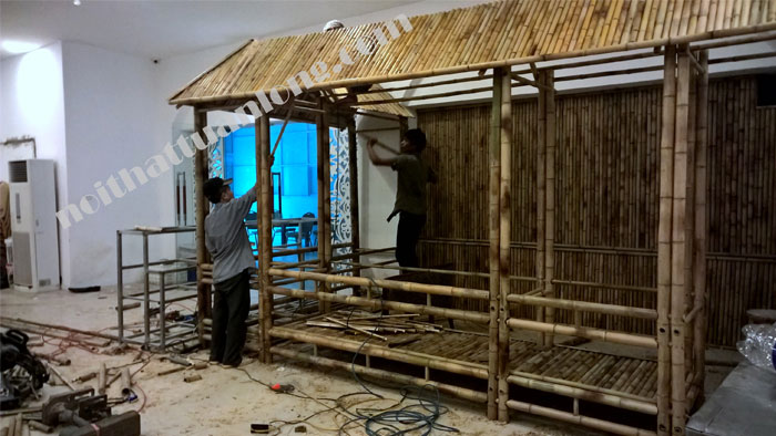 Thi công gian hàng Buffet bằng chất liệu tre trúc tại Nhà hàng số Sư Tử số 1 Ngu