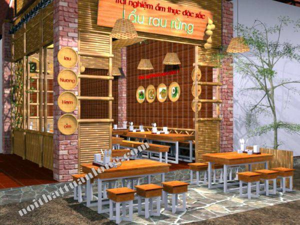 Dựng vách ngăn tre trúc chợ Ẩm thực Ngọc Lâm - Hà nội