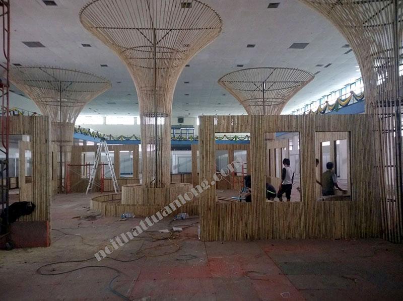 Thi công tre trúc hội chợ xuân 2015 tại Giảng Võ - Hà nội