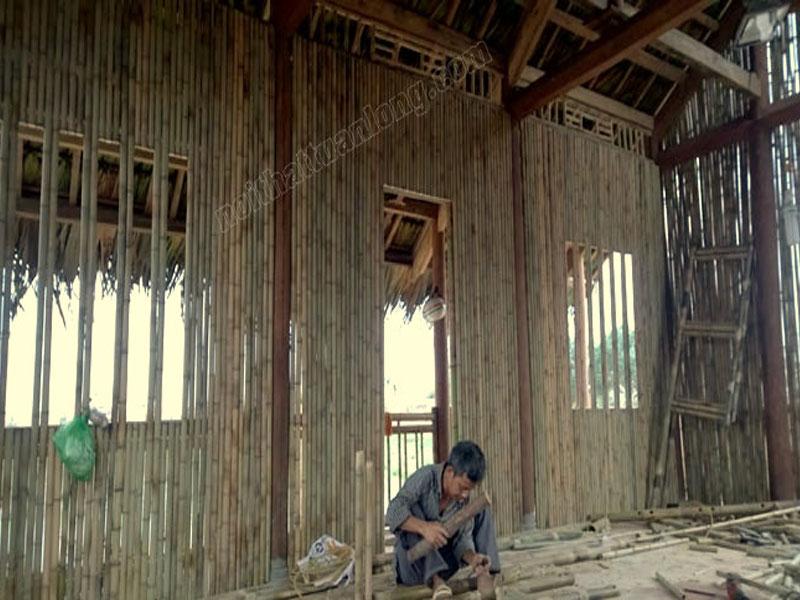 Thi công nhà vườn bằng chất liệu tre trúc , lá cọ tại Đông triều - Quảng ninh