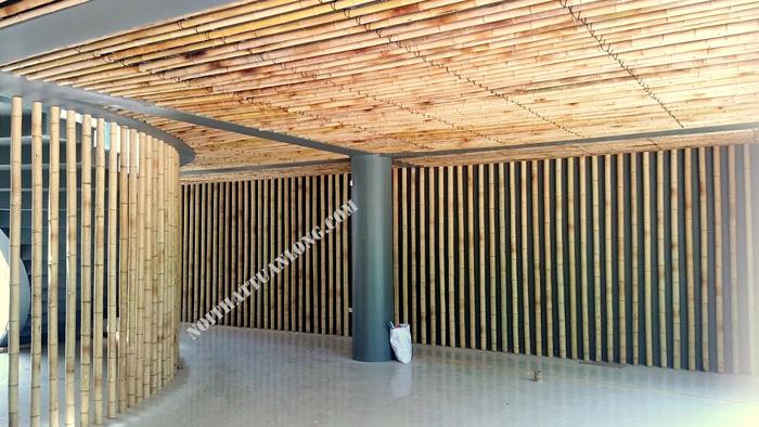 Thi công trần tre trúc dự án nghỉ dưỡng Hồ Thác Bà .