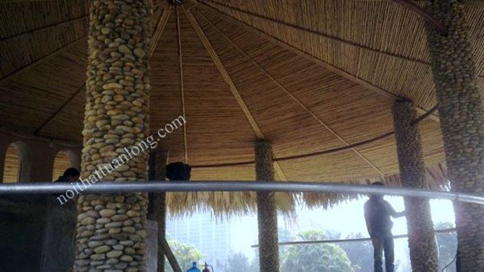 Thi công ốp tre trúc trần Nhà hàng Hoa An Viên tại Mỹ Đình .