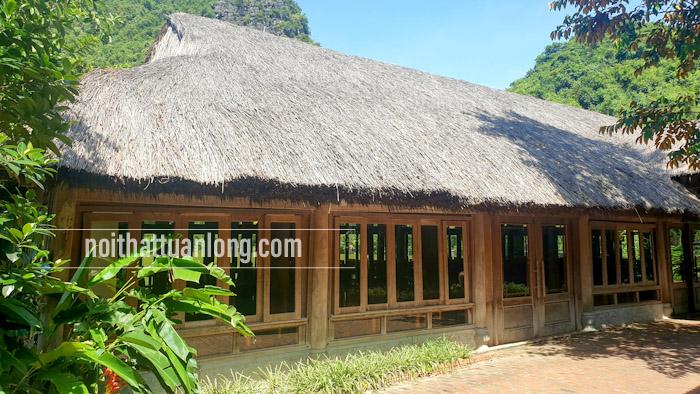 Thi công lợp chòi mái guột . Lợp mái guột nhà hàng tại khu du lịch sinh thái Thung Nham _ Ninh Bình