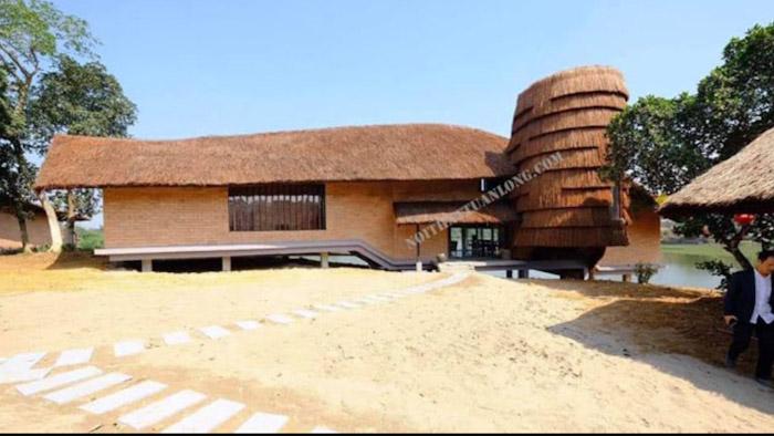 Thi công hạng mục mái Guột , trần tre trúc  khu nghỉ dưỡng Tomodachi - Làng Mít