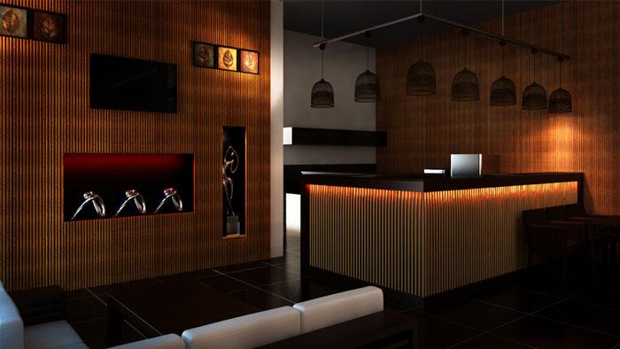 Một thiết kế về ốp tường , trần tre trúc đẹp của kiến trúc sư Hiếu